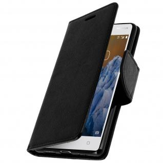Universal Flip-Schutzhülle Fancy Style für Nokia 3 - Schwarz + Schlaufe