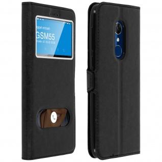 Flip Cover Doppelfenster & Standfunktion für Alcatel 3, Gelhülle - Schwarz