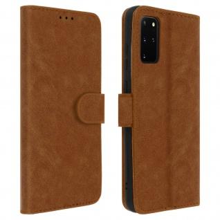 Flip Cover Geldbörse, Klappetui Kunstleder für Samsung Galaxy S20 Plus - Braun
