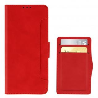 Realme 6i Klappetui mit Geldbörse + abnehmbares Kartenfach ? Rot