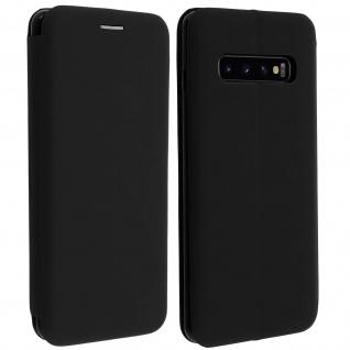 Soft Touch Cover Samsung Galaxy S10 Plus, Kartenfach und Standfunktion - Schwarz