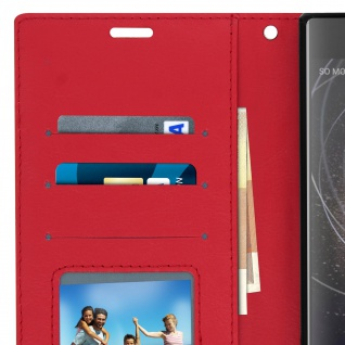 Flip Stand Cover Brieftasche & Standfunktion Sony Xperia XA2 Plus - Rot - Vorschau 5