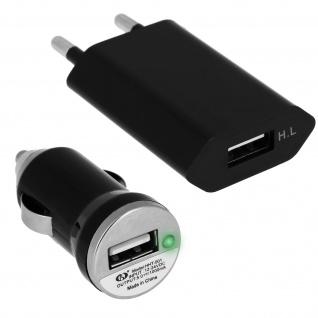 KFZ-Ladegerät: Ladegerät + Wand-Ladegerät + Micro-USB Ladekabel - Schwarz