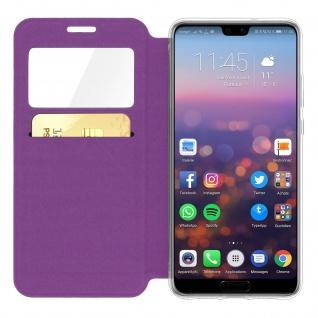 Huawei P20 Flip Cover Sichtfenster & Kartenfach Violett, Silikon - Standfunktion - Vorschau 3