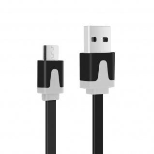 Micro-USB/ USB 3m Flachkabel - Aufladen/Synchronisierung - Schwarz