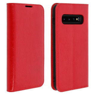 Business Leder Cover, Schutzhülle mit Geldbörse für Galaxy S10 - Rot