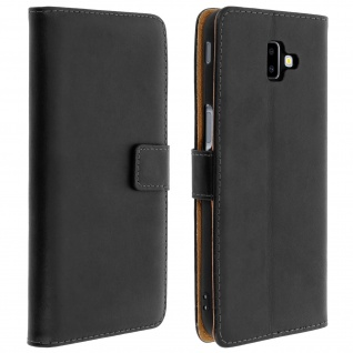 Cover aus Echtleder mit Standfunktion & Kartenfach Galaxy J6 Plus - Schwarz