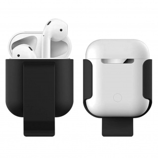 AirPods Soft Touch schwarze Schutzhülle mit integriertem Clip für den Gürtel