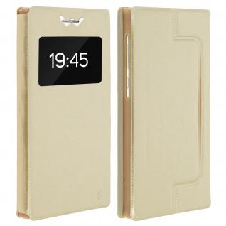 Universal Klappetui, Hülle mit Sichtfenster für Smartphones Größe M - Gold
