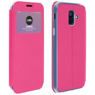 Samsung Galaxy A6 Flip Cover Sichtfenster & Kartenfach Rosa - Standfunktion