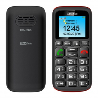 Senior Handy Dual Sim 4 Taste Shortcut SOS-Taste, MM428 Maxcom - Schwarz