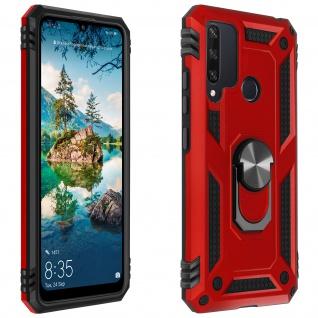 Hybrid Handyhülle mit Ring Halterung für Huawei Y6p ? Rot