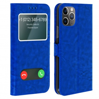 Apple iPhone 11 Pro Max Flip Cover Doppelfenster & Standfunktion - Blau