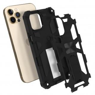 Apple iPhone 12 Pro Max Handyhülle mit Ständer, Metallic Design - Schwarz