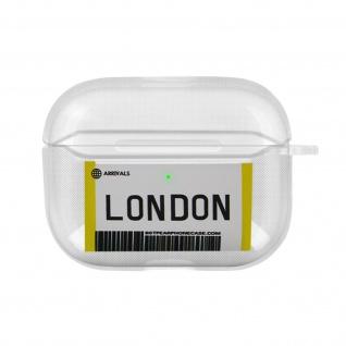 Weiche Silikonhülle für AirPods Pro, London Fahrkarte Design - Weiß