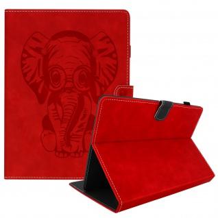 Universal Klappetui für 10 Zoll Tablets, Kartenfächer & Standfunktion - Rot