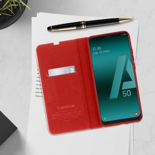 Samsung Galaxy A50 / A30s Klappetui, Cover mit Carbon Design & Ständer ? Rot - Vorschau 4