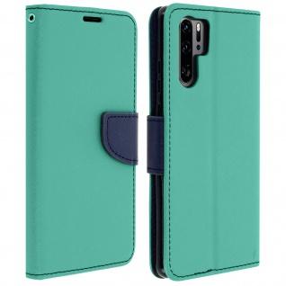 Fancy Style Flip-Cover für Huawei P30 Pro, Kartenfach und Standfunktion - Grün