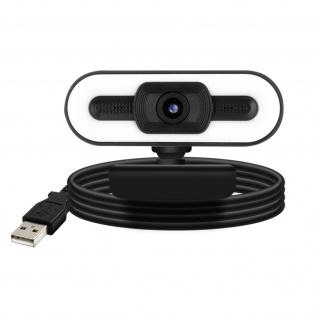 1080P HD-Weitwinkel-Streaming-Webcam mit LED-Licht + Mikrofon - Schwarz