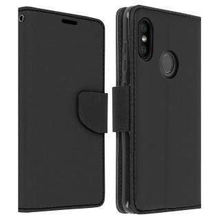 Fancy Style Flip-Cover für Xiaomi Mi A2 Lite, Kartenfach&Standfunktion - Schwarz
