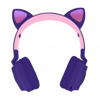 Katzenohren kabellose Bluetooth Kopfhörer, Kitty Headset - Violett