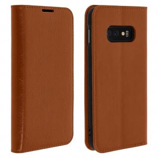 Business Leder Cover, Schutzhülle mit Geldbörse für Galaxy S10e - Hellbraun