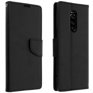 Fancy Style Cover Sony Xperia 1, Fach und Standfunktion - Schwarz