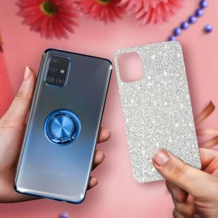 Glitter Silikonhülle mit Ring Halterung für Samsung Galaxy A51 - Blau - Vorschau 5