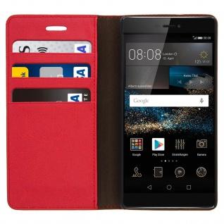 Huawei P8 Flip-Schutzhülle aus Echtleder im Brieftaschenstil - Rot - Vorschau 3
