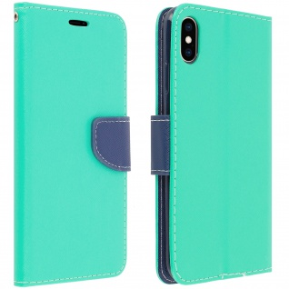 Fancy Style Cover Apple iPhone XS Max, Fach und Standfunktion - Grün