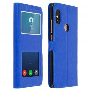Xiaomi Note 5, Klappetui mit Doppelfenster & Standfunktion - Blau