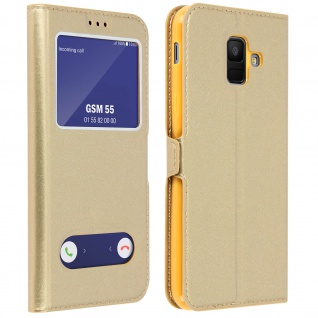 Flip Cover Doppelfenster & Standfunktion, Klappetui Samsung Galaxy A6 - Gold