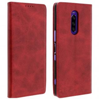Flip Cover Geldbörse, Kunstleder Klappetui für Sony Xperia 1 - Rot