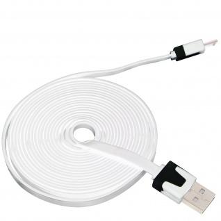 Micro-USB/ USB 3m Flachkabel - Aufladen / Synchronisierung - Weiß