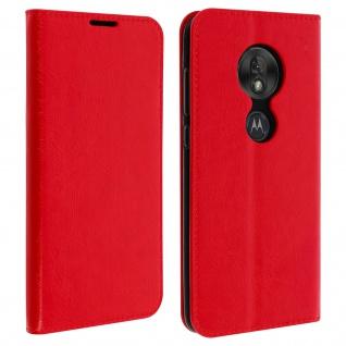 Business Leder Cover, Schutzhülle mit Geldbörse Motorola Moto G7 Play - Rot