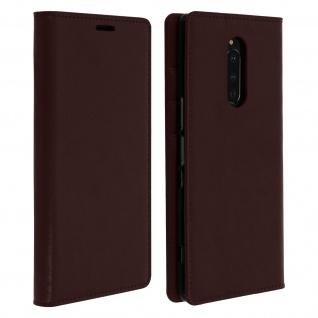 Business Leder Cover, Schutzhülle mit Geldbörse für Sony Xperia 1 - Braun