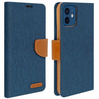 Canvas Stoffhülle für Apple iPhone 12 Mini, Etui mit Standfunktion - Blau