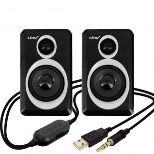 LinQ A5000 3, 5 mm Desktop-Lautsprechersystem 3W x 2 â€? Schwarz / Weiß