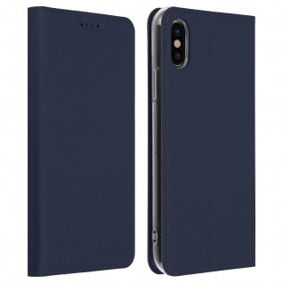 Flip Cover, Klappetui mit Kartenfach & Standfunktion für Apple iPhone XS/X Blau