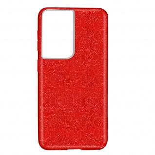 Schutzhülle, Glitter Case Samsung Galaxy S21 Ultra, shiny & girly Hülle â€? Rot