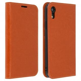 Apple iPhone XR Flip-Cover aus Echtleder im Brieftaschenstil - Hellbraun