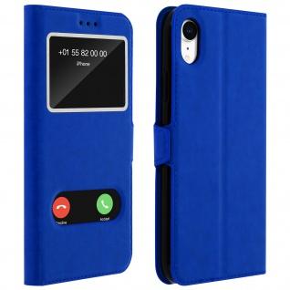 Apple iPhone XR Flip Cover mit Doppelfenster & Standfunktion - Blau