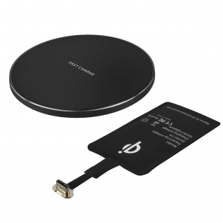 QI-Ladegerät Set: QI-Ladegerät + USB-C QI-Ladeempfänger - Schwarz