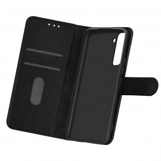 Flip Cover Geldbörse, Etui Kunstleder für Samsung Galaxy S21 Plus - Schwarz
