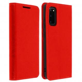 Business Leder Cover, Schutzhülle mit Geldbörse Samsung Galaxy S20 - Rot