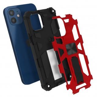 Apple iPhone 12 Mini Handyhülle mit Ständer, Metallic Design - Rot