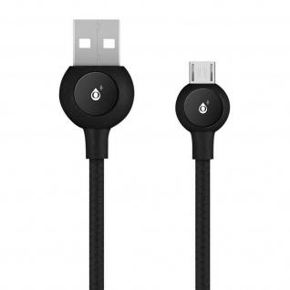 Micro-USB / USB Nylon Kabel, Lade- & Synchronisationskabel, 2A - Schwarz