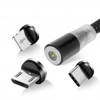 3-in-1-Magnetkabel, 1.2m USB-C / Micro-USB / Lightning Kabel - Schwarz