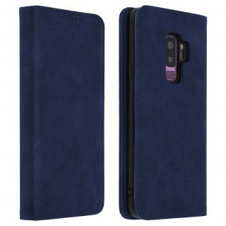 Flip Cover Geldbörse, Kunstleder Klappetui für Samsung Galaxy S9 Plus - Blau