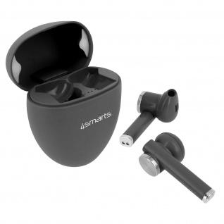Kabelloses Bluetooth-Headset mit Ladeetui, 4Smarts Pebble Series ? Dunkelgrau